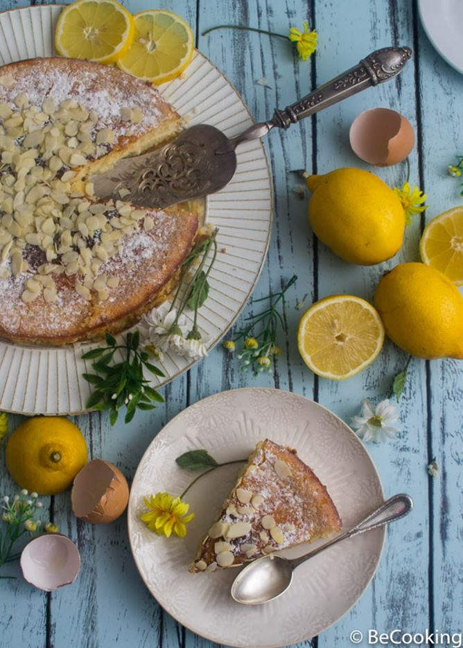 Bizcocho húmedo de limón y almendras