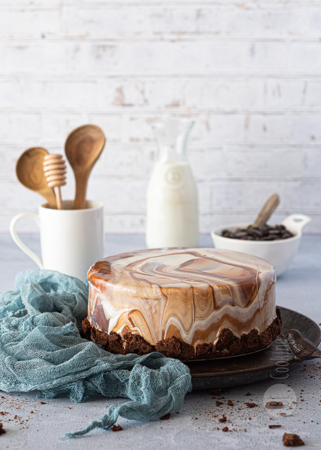 Tarta de chocolate marmolado sin gluten